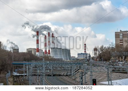 This image is about thermal power station and cloudy day.