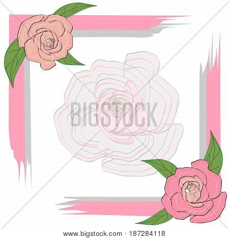 Gray pink frame with roses for a greeting card, invitation, text on a semi-transparent rose background, wedding