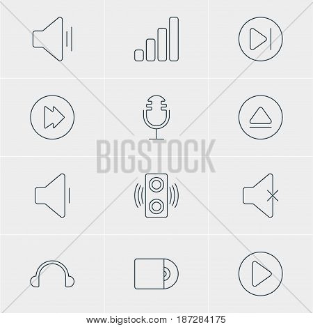 Vector Illustration Of 12 Melody Icons. Editable Pack Of Compact Disk, Mike, Amplifier And Other Elements.