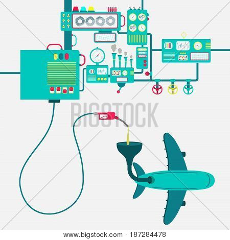 Machinery of factory refining gasoline and refueling a plane. Airplane being fueled by a gas pump.
