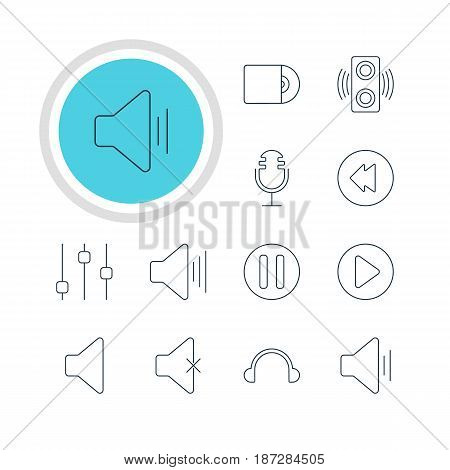 Vector Illustration Of 12 Music Icons. Editable Pack Of Lag, Speaker, Reversing And Other Elements.