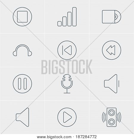 Vector Illustration Of 12 Music Icons. Editable Pack Of Mike, Earphone, Acoustic And Other Elements.
