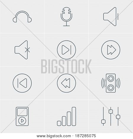 Vector Illustration Of 12 Music Icons. Editable Pack Of Earphone, Acoustic, Preceding And Other Elements.
