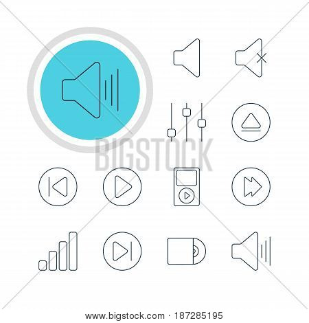 Vector Illustration Of 12 Music Icons. Editable Pack Of Stabilizer, Acoustic, Mp3 And Other Elements.