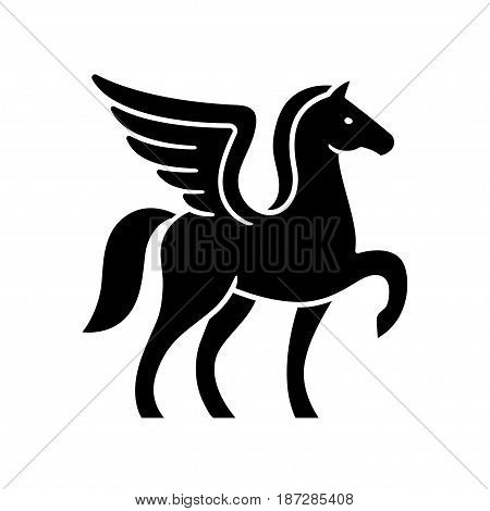 Pegasus logo template. Stylized winged horse silhouette isolated vector illustration.