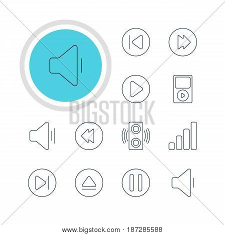 Vector Illustration Of 12 Music Icons. Editable Pack Of Subsequent, Amplifier, Audio And Other Elements.