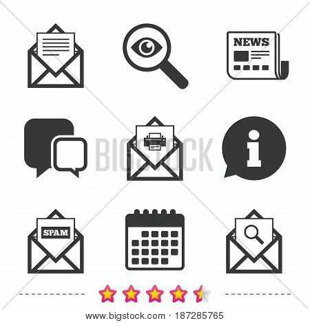 Mail envelope icons. Print message document symbol. Post office letter signs. Spam mails and search message icons. Newspaper, information and calendar icons. Investigate magnifier, chat symbol. Vector