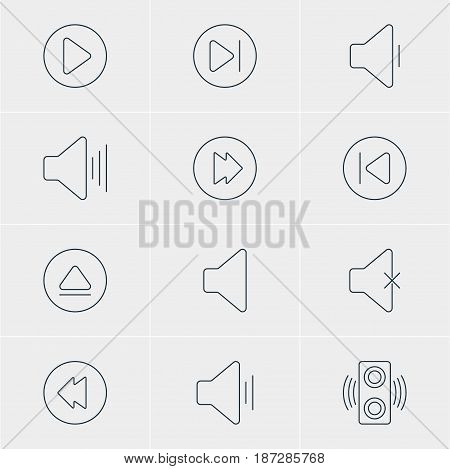 Vector Illustration Of 12 Music Icons. Editable Pack Of Advanced, Decrease Sound, Start And Other Elements.