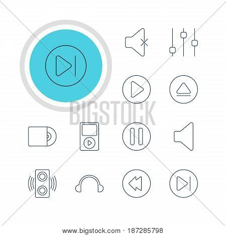 Vector Illustration Of 12 Melody Icons. Editable Pack Of Rewind, Amplifier, Start And Other Elements.