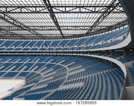3D render of beautiful sports arena for ice hockey with blue seats and VIP boxes for fifty thousand people