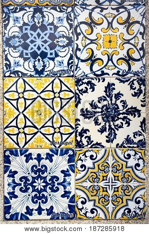Portuguese traditional tiles Azulejo in Porto. Portugal tile is one of the traditional cultural elements that the Portuguese are very proud of