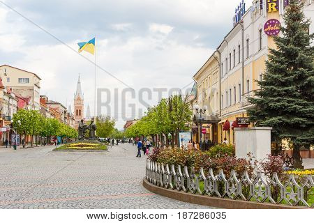 MUKACHEVE, UKRAINE - APRIL 25, 2017: Street View of Cyril and Methodius square. Muhacheve is the second largest city in Zakarpattia Oblast