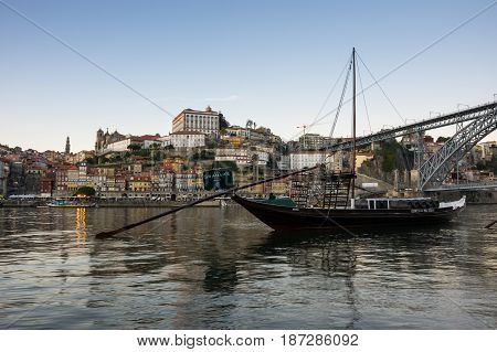 PORTO PORTUGAL - OCTOBER 20 2015: Panorama of river Douro and the old town of Porto the second largest city in Portugal after Lisbon