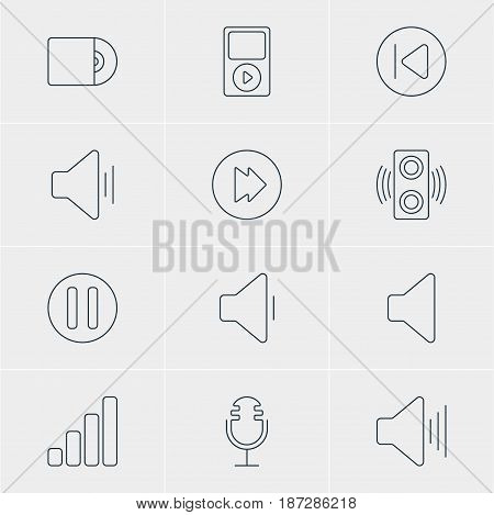 Vector Illustration Of 12 Music Icons. Editable Pack Of Lag, Acoustic, Compact Disk And Other Elements.