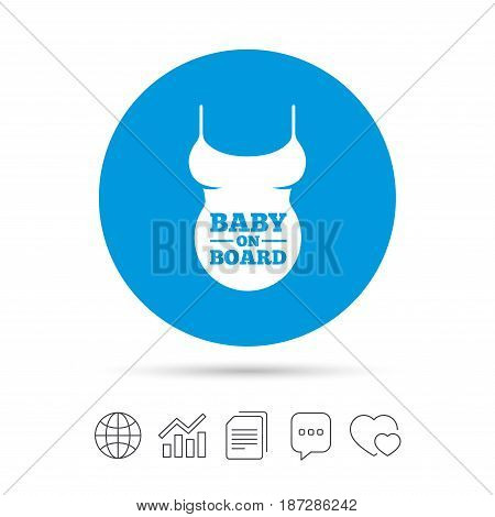 Pregnant woman shirt sign icon. Baby on board. Maternity symbol Copy files, chat speech bubble and chart web icons. Vector