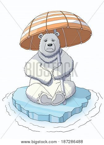 Cute white bear sitting on the melting ice holding a umbrella, trying to save the ice from warming