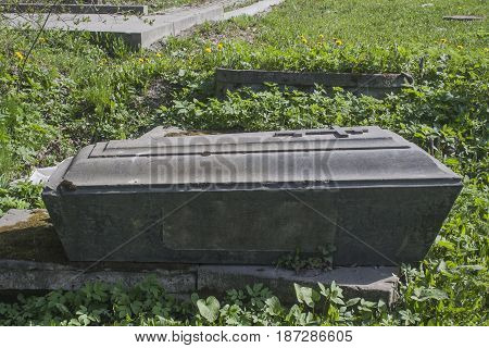 shot of the Ancient Old Believer tombstone