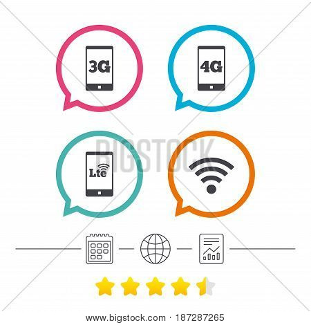 Mobile telecommunications icons. 3G, 4G and LTE technology symbols. Wi-fi Wireless and Long-Term evolution signs. Calendar, internet globe and report linear icons. Star vote ranking. Vector