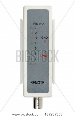 Remote Probe Of Network Cable Tester Isolated On A White Background