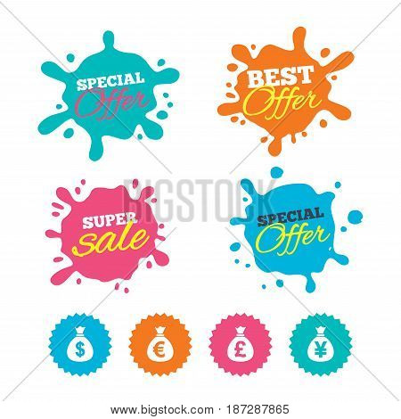 Best offer and sale splash banners. Money bag icons. Dollar, Euro, Pound and Yen symbols. USD, EUR, GBP and JPY currency signs. Web shopping labels. Vector