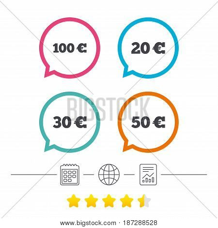 Money in Euro icons. 100, 20, 30 and 50 EUR symbols. Money signs Calendar, internet globe and report linear icons. Star vote ranking. Vector