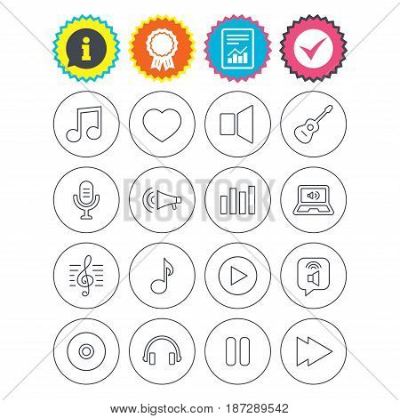 Report, information and award signs. Music icons. Musical note, acoustic guitar and microphone. Notebook, dynamic and headphones symbols. Check tick symbol. Flat buttons. Vector
