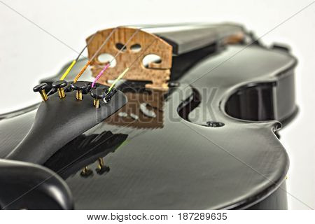 Close-up of Black Violin on White Background