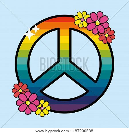 nice hippie emblem with flowers design, vector illustration