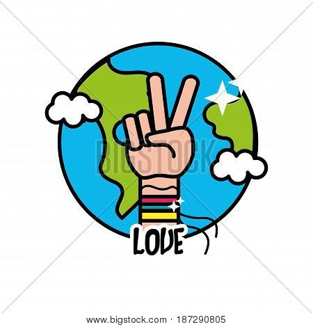 earth planet with hand symbol of peace and love, vector illustration