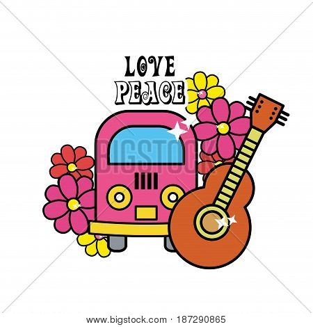 cute hippie minibus with flowers and guitar, vector illustration