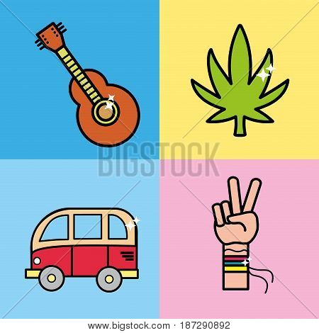 set instruments representative to hippie, vector illustration