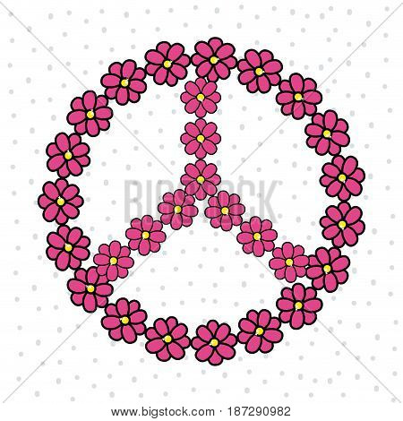 cute hippie emblem with flowers, vector illustration design