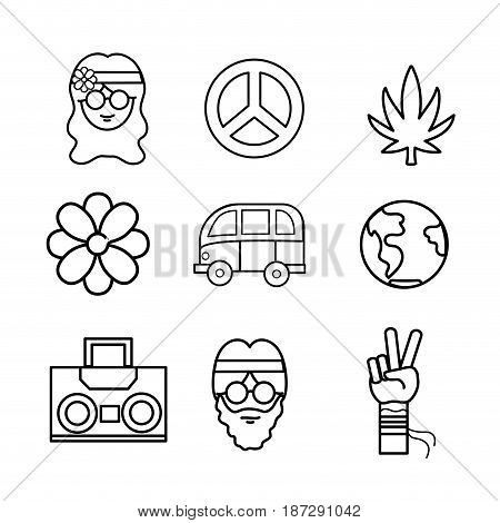 line cute hippie woman with important tools, vector illustration