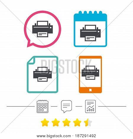 Print sign icon. Printing symbol. Print button. Calendar, chat speech bubble and report linear icons. Star vote ranking. Vector