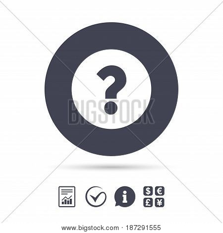 Question mark sign icon. Help symbol. FAQ sign. Report document, information and check tick icons. Currency exchange. Vector