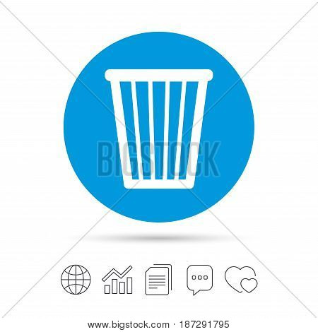 Recycle bin sign icon. Bin symbol. Copy files, chat speech bubble and chart web icons. Vector