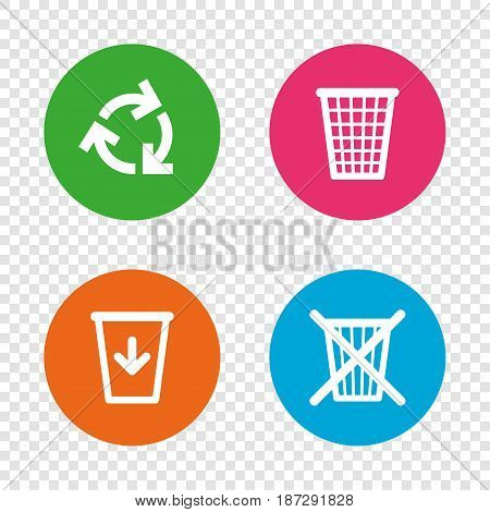Recycle bin icons. Reuse or reduce symbols. Trash can and recycling signs. Round buttons on transparent background. Vector