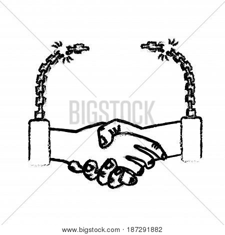 figure nice hands together like friendship with chains, vector illustration
