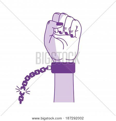 silhouette nice hands fist up with metallic chain, vector illustration