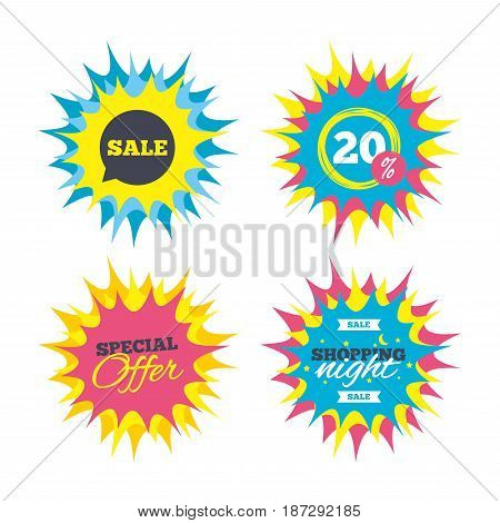 Shopping offers, special offer banners. Sale sign icon. Special offer symbol in speech bubble. Discount star label. Vector