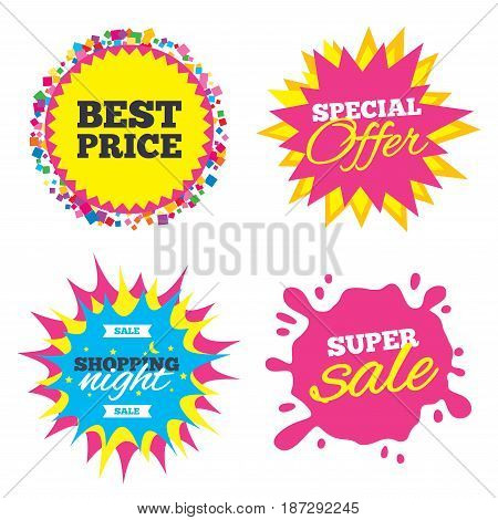 Sale splash banner, special offer star. Best price sign icon. Special offer symbol. Shopping night star label. Vector