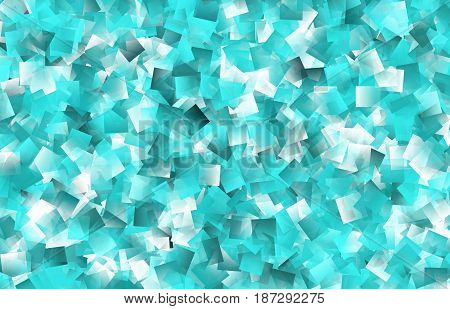 This abstract background in shades of green blue and white consists of transparent overlapping geometric shapes that resemble oversized confetti.