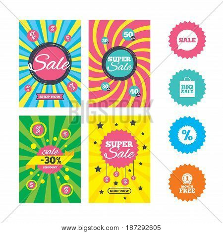 Web banners and sale posters. Sale speech bubble icon. Discount star symbol. Big sale shopping bag sign. First month free medal. Special offer and discount tags. Vector