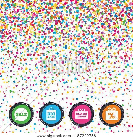 Web buttons on background of confetti. Sale speech bubble icon. Black friday gift box symbol. Big sale shopping bag. Discount percent sign. Bright stylish design. Vector