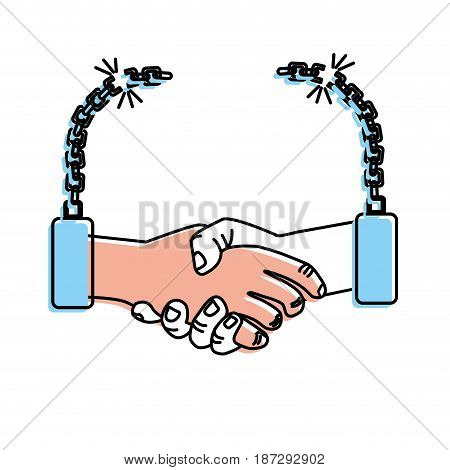 nice hands together like friendship with chains, vector illustration