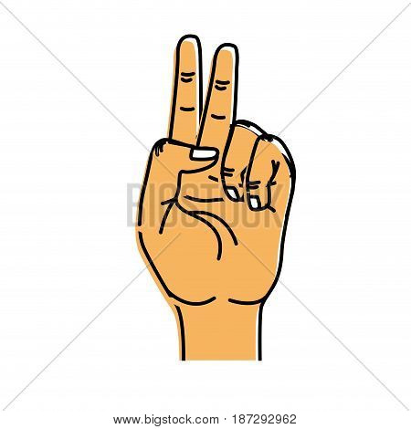 hand with middle finger and fingerprint up symbol, vector illustration