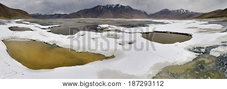 Panoramic View Of The Salt Lake Of Tso Kar: White Crusts Of Rock Salt Near The Shore Of The Lake, Sm