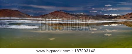 Panoramic Photograph Of The High Salt Lake Of Tso Kar On A Summer Windless Day: Water Surface As A M