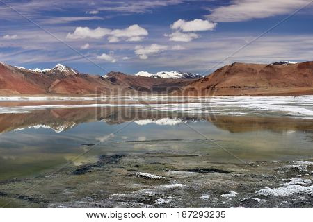 Mirror Panorama Of The High Mountains Of Ake: Blue And Green Water Surface Reflect Mountains And Clo