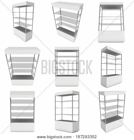 Empty showcase with glass shelves for exhibit set. 3D render illustration isolated on white background. Trade show booth blank pedestal for expo design.